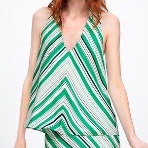 ZARA HALTER TOP GREEN WHITE NWT MEDIUM